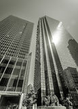 Dallas Skyscrapers. Glowing Glass Skyscrapers in Black and White Royalty Free Stock Photography