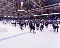 A Dallas Stars Thank You. The Dallas Stars wave thanks to the Charlottetown, Prince Edward Island Crowd. Players include Andrew Raycroft, Colton Sceviour Stock Photos