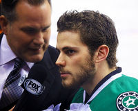 Dallas Stars Tyler Seguin Before un gioco di NHL Fotografia Stock