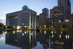 Dallas at sunset. Beautiful city hall and office buildings in downtown Dallas night, TX Royalty Free Stock Photography