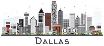 Dallas Texas City Skyline with Gray Buildings Isolated on White. Vector Illustration. Business Travel and Tourism Concept with Modern Buildings. Dallas Stock Photography