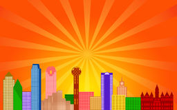 Dallas Texas City Skyline Panorama. Color Silhouette with Sun Rays Clip Art Illustration Royalty Free Stock Image