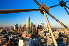 Dallas, Texas cityscape with blue sky at sunset stock photos