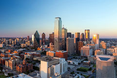 Dallas, Texas cityscape. With blue sky at sunset, Texas Royalty Free Stock Photos