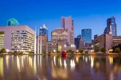 Dallas, Texas cityscape with blue sky at twilight Stock Photos