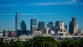 Dallas Texas downtown Metropolis Skyline Cityscape with Highrises and Office buildings on Nice Sunny Day. With blue sky and early morning light on the city royalty free stock photos