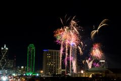 Dallas Texas Fireworks. Fireworks in Dallas Texas on New Year Eve 2008 Night Royalty Free Stock Images