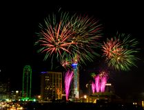 Dallas Texas Fireworks royalty free stock image