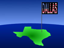 Dallas on Texas map. Map of Texas with Dallas flag illustration Royalty Free Stock Photos