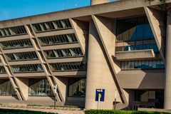 Dallas, Texas - May 7, 2018: Dallas City Hall, designed by renouned architect I. M. Pei, was used for the Robocop movies royalty free stock photo
