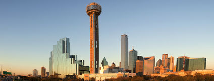 Dallas Texas (panoramic). Panoramic view at sunset of downtowwn Dallas, Texas taken right before sunset Stock Photography