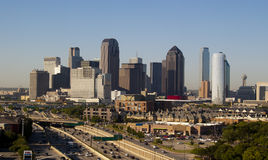 Dallas Texas Skyline. Skyline of downtown Dallas Texas Skyscrapers on a sunny day with blue skies stock image