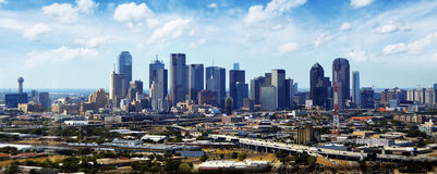 Dallas Texas Skyline. With clouds in the background Royalty Free Stock Image