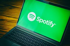 Spotify logo on computer screen. Dallas, Texas/ United States - 06/7/2018: Photograph of the Spotify logo on computer screen royalty free stock image