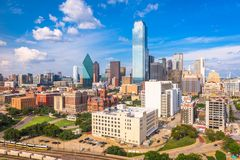 Dallas, Texas, USA Skyline. From above in the day stock images
