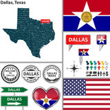 Dallas, Texas. Vector set of Dallas Texas in USA with flag and icons on white background Stock Photo