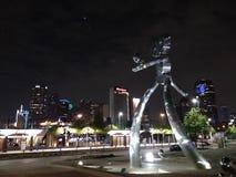Dallas Tx horisont med roboten arkivfoton
