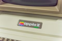 Close-up logo of old Apple II computer. DALLAS, TX, USA-APR 26, 2019: Close-up Apple II logo on foam-molded plastic case. It was the first consumer product sold stock image