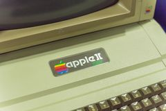 Close-up logo of old Apple II computer. DALLAS, TX, USA-APR 26, 2019: Close-up Apple II logo on foam-molded plastic case. It was the first consumer product sold royalty free stock photos