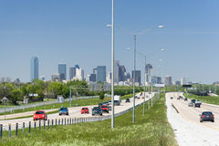 Dallas, TX/USA - circa April 2009: Downtown Dallas, Texas as seen from Interstate Highway  45 Royalty Free Stock Image