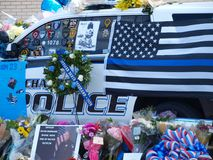 Memorials for Officer at Richardson Police Department. Dallas,USA,09February 2018. Richardson Police Officer Veteran David Sherrard,becomes the first officer to Royalty Free Stock Photos