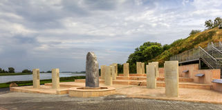 Dalles en pierre avec les inscriptions runiques Bolgar ou bulgare, Tatarstan, Russie Photos libres de droits