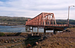 The Dalles Steel Bridge On Columbia River Wash. This stock image is a landscape of The Dalles bridge taken from the Washington side of the Columbia river. The royalty free stock images
