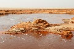 Dallol火山的, Danakil消沉,埃塞俄比亚Petroleum湖 库存照片