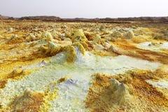 Dallol火山黄色风景  免版税库存图片