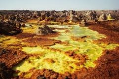 Dallol, Danakil消沉,埃塞俄比亚 地球的最热的地方 免版税图库摄影