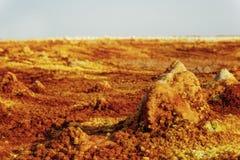 Dallol, Danakil消沉,埃塞俄比亚 地球的最热的地方 图库摄影