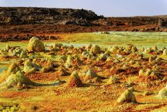 Dallol, Danakil消沉,埃塞俄比亚 地球的最热的地方 库存照片