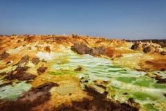 Dallol, Danakil消沉,埃塞俄比亚 地球的最热的地方 免版税库存照片
