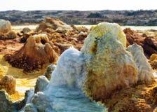 Dallol, депрессия Danakil, Эфиопия Самое горячее место на земле Стоковые Фотографии RF