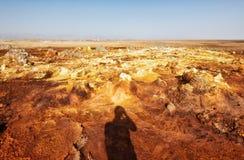 Dallol, депрессия Danakil, Эфиопия Самое горячее место на земле Стоковое Изображение