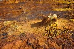 Dallol, Danakil depresja, Etiopia Gorący miejsce na ziemi Obrazy Stock