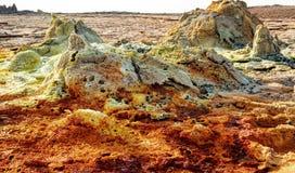 Dallol, Danakil depresja, Etiopia Gorący miejsce na ziemi Zdjęcia Stock