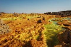 Dallol, Danakil depresja, Etiopia Gorący miejsce na ziemi Zdjęcie Royalty Free