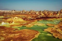 Dallol, Danakil depresja, Etiopia Gorący miejsce na ziemi Fotografia Stock