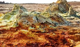 Dallol, Danakil Depression, Ethiopia. The hottest place on earth. Taken in 2015 Stock Photos
