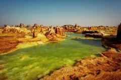Dallol Danakil fördjupning, Etiopien Det varmmaste stället på jord Fotografering för Bildbyråer