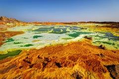 Dallol Danakil fördjupning, Etiopien Det varmmaste stället på jord Royaltyfri Fotografi