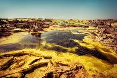 Dallol Danakil fördjupning, Etiopien Det varmmaste stället på jord Royaltyfria Bilder