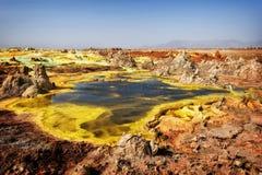 Dallol, depressão de Danakil, Etiópia O lugar o mais quente na terra fotos de stock royalty free