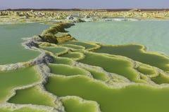 Dallol vulkanDanakil fördjupning Etiopien Arkivbilder