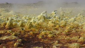 Dallol yellow inside the explosion crater of Dallol volcano, Ethiopia