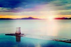 Dalmatia solnedgång i fjärd Royaltyfria Foton
