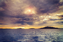Dalmatia sunset in bay Stock Image