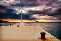 Dalmatia sunset in bay Royalty Free Stock Image