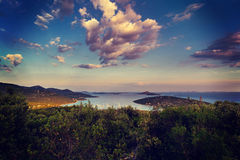 Dalmatia sunset in bay Royalty Free Stock Images